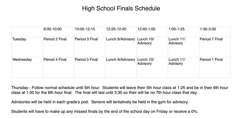 HS Finals Schedule