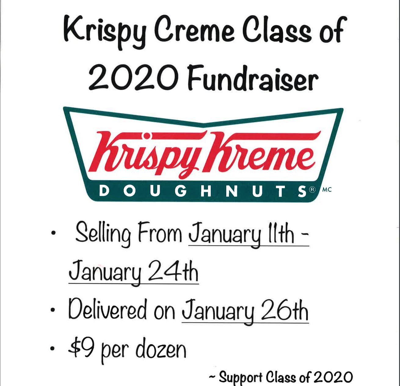 class of 2020 krispy creme fundraiser