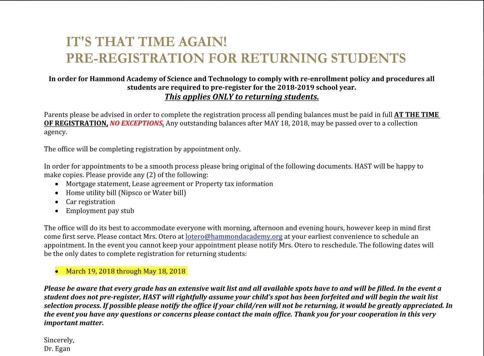 pre-registration 18-19